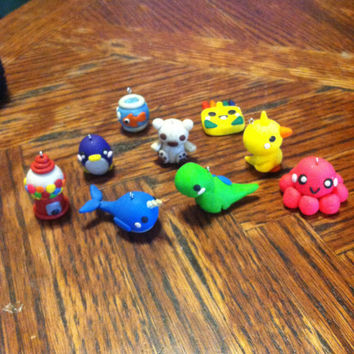 YOU PICK 3 Cute Polymer Clay Charm Pendants by GotKandi on Etsy
