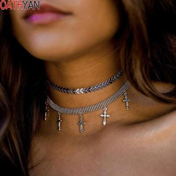 OATHYAN Punk Harajuku Personalized Silver Color Metal Choker Necklace For Women Cross Pendants Double Layered Chunky Necklaces