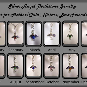 Special Sale, Angel jewelry, October birthstone jewlery, Birthstone Jewelry, Angel jewelry, Angel Necklace,  mother daughter jewelry