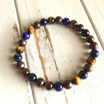 Men's Genuine Tiger Eye, Blue Tiger Eye & Tiger Iron Bracelet - Protection and Strength