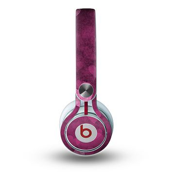 The Purple and Pink Layered Hearts Skin for the Beats by Dre Mixr Headphones