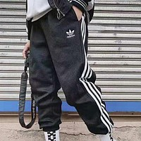 Adidas Autumn And Winter New Fashion Letter Print Women Men Thick Keep Warm Stripe Pants Black
