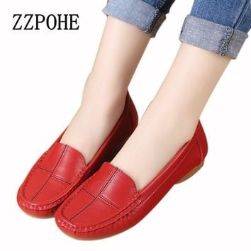 ZZPOHE leather shoes middle-aged mother shoes Women Slip on Casual shallow mouth flat