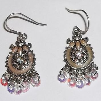 "Vintage Victorian Style Cream & Pink Enamel and Clear AB Crystal 1.5"" Drop Dangle Earrings"