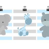 Safari Nursery Art - Elephant, Giraffe, Hippo - Animal Blue Gray Stripes Print - Baby Boy Children Kid Room Home Decor