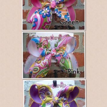 LARGE Groovy Flowers Summer Print Pink Green Yellow Ribbon Hair Bow Karens Creations
