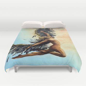 Season of the Legend - Icarus Descending Duvet Cover by michael jon