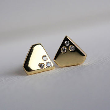 Gold Diamond Earrings, Diamond Shape Earrings, Tiny Diamond Earrings, Solid Gold Studs