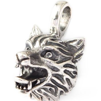 Vietguild's 92.5 Sterling Silver Wolf Head Dog Pendant Charm