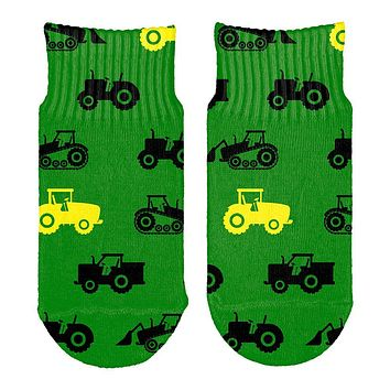 Tractor Farm Little Boy Kid Repeat Pattern All Over Toddler Ankle Socks