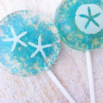 Beach Wedding Favors, Blue Wedding Favor, Beach Wedding, Candy Lollipops, Candy, Sparkle Lollipops, Sweet Caroline Confections SIX LOLLIPOPS