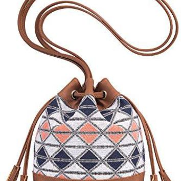 Lily Queen Drawstring Bucket Bag Small Crossbody Purse Canvas and PU
