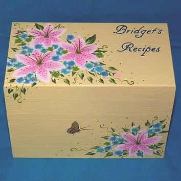 Decorative Recipe Boxes Beauteous Hand Painted Personalized Recipe Box From Essenceofthesouth On 2018