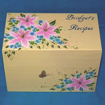 Decorative Recipe Boxes Classy Hand Painted Personalized Recipe Box From Essenceofthesouth On Design Ideas