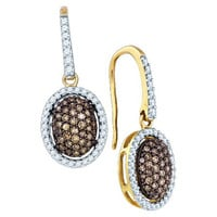 Cognac Diamond Fashion Earrings in 10k Gold 0.76 ctw