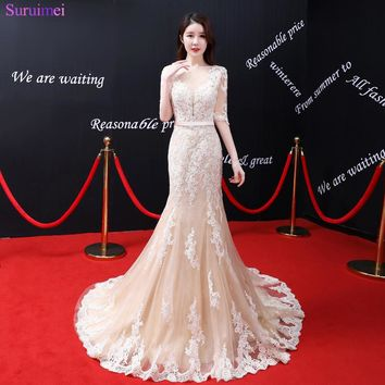 High Quality Half Sleeves Evening Dresses Light Champagne Lace Applique Sheer Illusion See Through Backless Marmaid Evening Gown