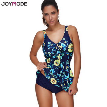 JOYMODE Two Pieces Swimwear Women Maillot Floral Printed Swimsuit Push Up Plus Size Bathing Suit Beach Swimming Suit For Women