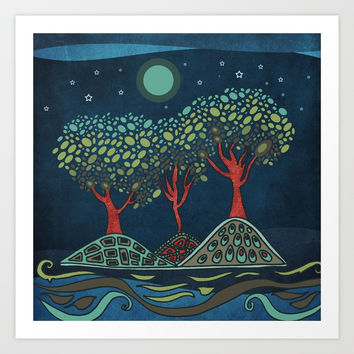 Retro trees Art Print by vivianagonzlez