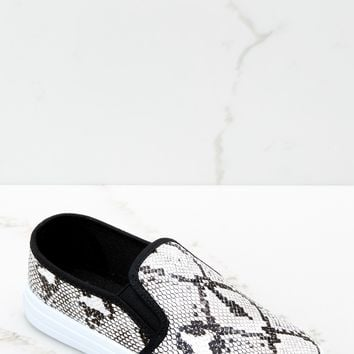 Name Your Poison Black Snakeskin Slip On Sneakers