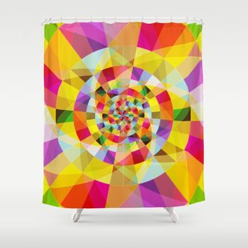 Colorful Abstract Swirly Tune Design (Fancy Fresh And Modern Hippy Style) Shower Curtain by Jeanette Rietz