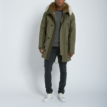 Yves Salomon Felt Detail Parka with Fur Trimmed Vest in Light Khaki/Anthracite