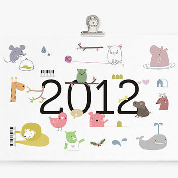 PDF printable Calendar 2012 cute animal by teconlene on Etsy