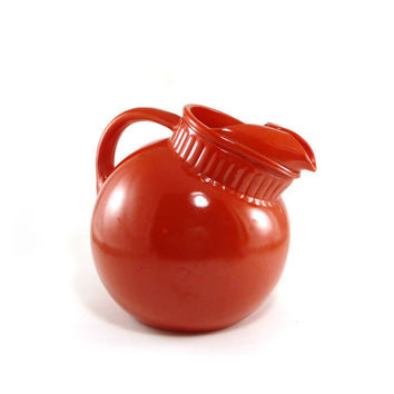Red orange tilt ball pitcher, glass, retro kitchen mid century decor