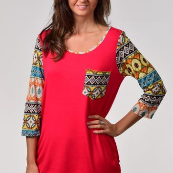 Now N Forever Brand Red Long Tunic Top with Printed Sleeves and Pocket