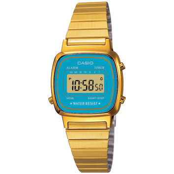 Casio LA670WGA-2D Women's Teal Blue Face/Dial Gold Tone Digital Retro Watch