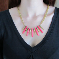 Sleeping Beauty - Neon Pink Howlite Dagger & Brass Spike Necklace