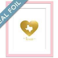 Texas Print - Gold Foil Print - Texas Map Art Print - Travel Poster - Dallas Art Print - United States Art Print - Gold Map Wall Decor
