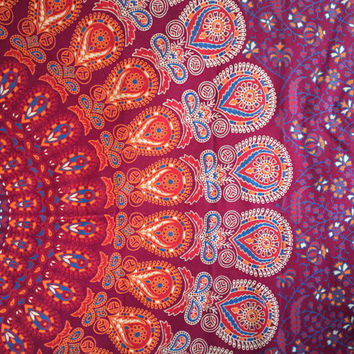 Indian Throw Hippie Gypsy Psychedelic Boho 100% cotton Elephant Handmade Block Print Design Mandala Tapestry Wall Hanging Beach Bedspread UK