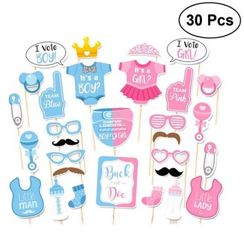 30pcs Girls Boys Baby Shower Birthday Party Gender Reveal Photo Booth Props on Sticks Set Decorations for Party Favors