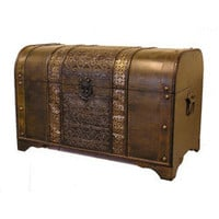 Old Fashioned Walnut Treasure Chest Styled Wood Trunk | Overstock.com