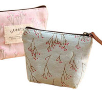 Small Floral Canvas Purse Zip Wallet