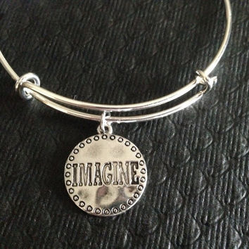 Imagine Silver Charm on Silver Plated Bracelet Expandable Adjustable Wire Bangle Handmade Graduation Inspirational Gift Trendy