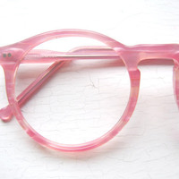 80's Colors in Optics Oversized Peabody Pink Pearlized Eyeglass Frames USA