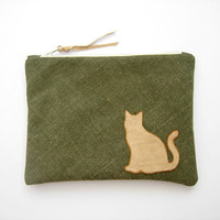 sitting cat zipper pouch, forest green canvas pencil case/cosmetic pouch  ebook reader case