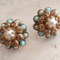 Turquoise Pearl Earrings Victorian Revival Cluster Screw Back Vintage V0474