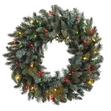 Christmas Wreath -30 Inch Pine Door Wreath With Colored Lights