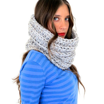 Chunky Soft Crochet Knit Cowl Neck Warmer // Woolly Cowl in Philosopher's Stone // Many Colors and Vegan Options Available