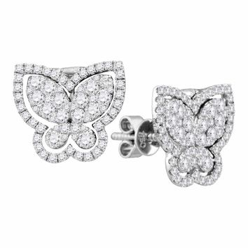 18kt White Gold Women's Round Diamond Butterfly Bug Stud Earrings 1-1-4 Cttw - FREE Shipping (US/CAN)