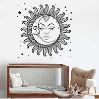 Vinyl Wall Decal Sun Moon Stars Bedroom Kids Room Stickers Mural Unique Gift (ig3511)