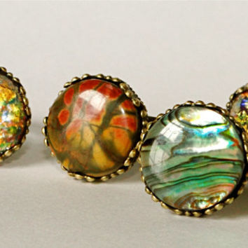 Adjustable ring. Abalone, Picasso Jasper, faux fire opal. ONE RING