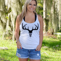 fashionable and stylish cute deer hunting black deer skull top