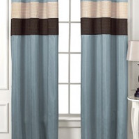 Rgt/ vannie-Choco/ Blue Grommet Window Curtain Panel 40x84""