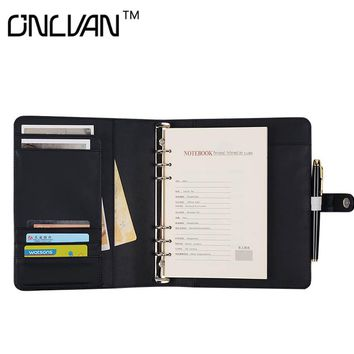 Faux Leather Writing Pad A5 Size Notebook Black color Padfolio  Business Accessories Office Supply Multifunction Portfolio