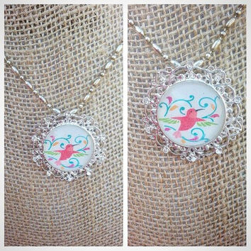 Hummingbird Necklace, Beautiful Colors in the Glass Dome Hummingbird Necklace