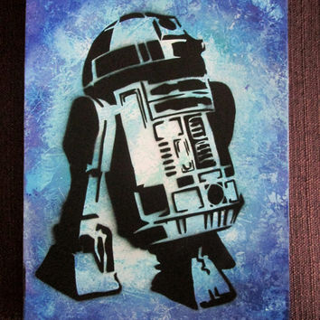 star wars R2D2 poster,star wars kids room decor,star wars gifts,boys room,star wars painting,R2D2 star wars wall art,star wars wall decor