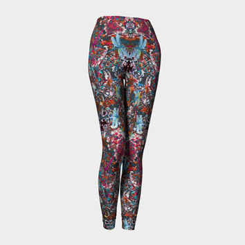Dragonfly Surprise, Compression fit performance Leggings, XS,S,M,L,XL, Hot Yoga Pants, Activewear Hand Made in Canada